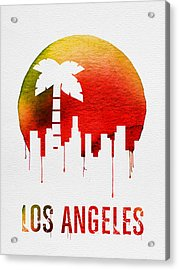 Los Angeles Landmark Red Acrylic Print by Naxart Studio