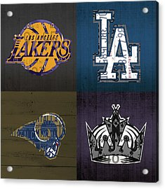 Los Angeles License Plate Art Sports Design Lakers Dodgers Rams Kings Acrylic Print by Design Turnpike