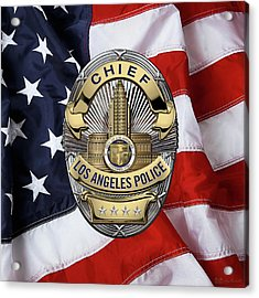 Los Angeles Police Department  -  L A P D  Chief Badge Over American Flag Acrylic Print