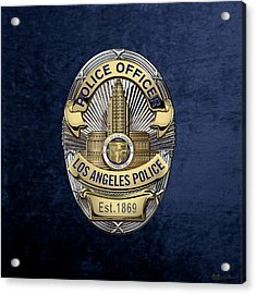Los Angeles Police Department  -  L A P D  Police Officer Badge Over Blue Velvet Acrylic Print