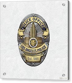 Los Angeles Police Department  -  L A P D  Police Officer Badge Over White Leather Acrylic Print