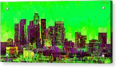 Los Angeles Skyline 105 - Pa Acrylic Print by Leonardo Digenio