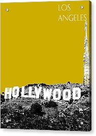 Los Angeles Skyline Hollywood - Gold Acrylic Print by DB Artist