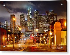 Los Angeles Skyline Night From The East Acrylic Print