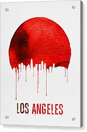 Los Angeles Skyline Red Acrylic Print by Naxart Studio