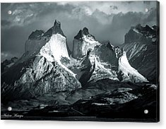 Acrylic Print featuring the photograph Los Cuernos In Black And White by Andrew Matwijec