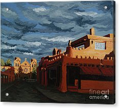 Acrylic Print featuring the painting Los Farolitos,the Lanterns, Santa Fe, Nm by Erin Fickert-Rowland