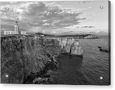 Los Morrillos Lighthouse In Black And White Acrylic Print