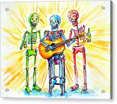 Acrylic Print featuring the painting Los Tres Cantantes by Heather Calderon