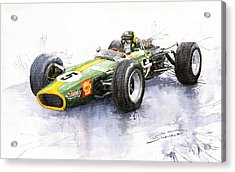 Lotus 49 Ford F1 Jim Clark Acrylic Print by Yuriy  Shevchuk
