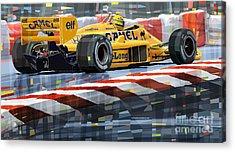 Lotus 99t 1987 Ayrton Senna Acrylic Print by Yuriy  Shevchuk