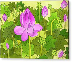 Lotus And Waterlilies Acrylic Print