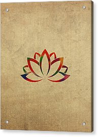 Lotus Flower Buddhist Symbol In Watercolor Acrylic Print