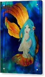 Lotus Mermaid  Acrylic Print by ARTography by Pamela Smale Williams