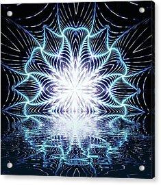 Lotus Rising #kaleidoscope #mandala Acrylic Print by Michal Dunaj