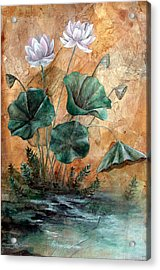 Lotus Acrylic Print by Sandy Clift