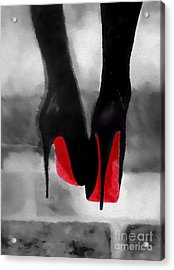Louboutin At Midnight Black And White Acrylic Print by Rebecca Jenkins