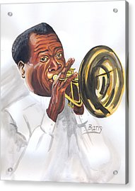 Acrylic Print featuring the painting Louis Armstrong by Emmanuel Baliyanga