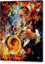 Louis Armstrong Acrylic Print by Leonid Afremov