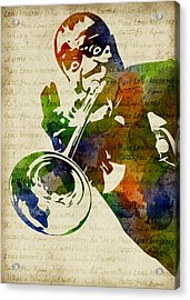 Louis Armstrong Watercolor Acrylic Print by Mihaela Pater