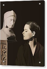 Louise Brooks With Bust Of Dante Alighieri  Acrylic Print by Vintage Brooks