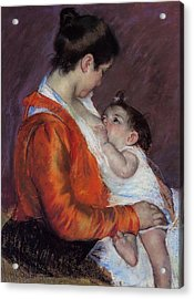Louise Nursing Her Child Acrylic Print by Marry Cassatt