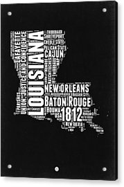 Louisiana Black And White Word Cloud Map Acrylic Print