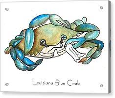 Louisiana Blue Crab Acrylic Print by Elaine Hodges