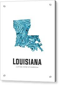 Louisiana Map Art Abstract In Blue Acrylic Print