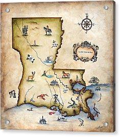 Louisiana Map Acrylic Print by Judy Merrell
