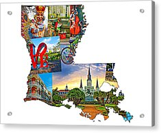 Louisiana Map - New Orleans Acrylic Print by Steve Harrington