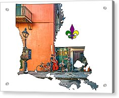Louisiana Map - The French Quarter Acrylic Print by Steve Harrington