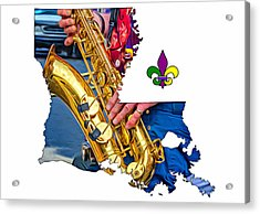 Louisiana Map - The Sax Man Acrylic Print by Steve Harrington