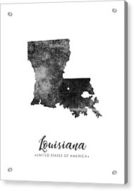 Louisiana State Map Art - Grunge Silhouette Acrylic Print