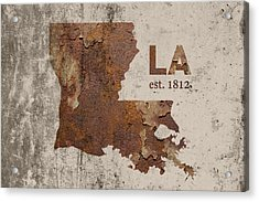 Louisiana State Map Industrial Rusted Metal On Cement Wall With Founding Date Series 017 Acrylic Print
