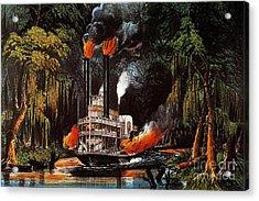 Louisiana: Steamboat, 1865 Acrylic Print by Granger