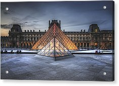 Acrylic Print featuring the photograph Louvre At Dusk by Ryan Wyckoff