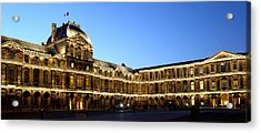 Acrylic Print featuring the photograph Louvre At Night 1 by Andrew Fare