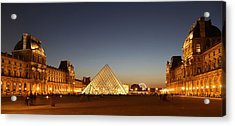 Acrylic Print featuring the photograph Louvre At Night 2 by Andrew Fare