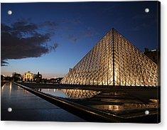 Louvre Puddle Reflection Acrylic Print by Joshua Francia