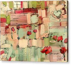 Acrylic Print featuring the mixed media Love Abstract by Carrie Joy Byrnes