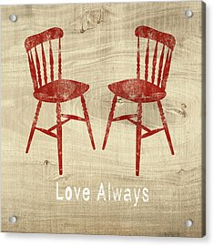 Love Always Red Chairs- Art By Linda Woods Acrylic Print by Linda Woods