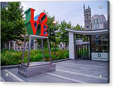 Acrylic Print featuring the photograph Love At Dilworth Plaza - Philadelphia by Bill Cannon