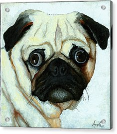 Love At First Sight - Pug Acrylic Print by Linda Apple