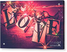 Love Birds And Wooden Sentiments Acrylic Print by Jorgo Photography - Wall Art Gallery