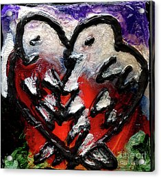 Acrylic Print featuring the painting Love Birds by Genevieve Esson