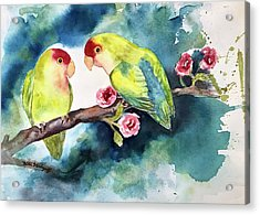 Love Birds On Branch Acrylic Print