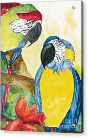 Acrylic Print featuring the painting Love Birds by Vicki  Housel