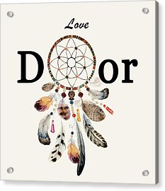 Acrylic Print featuring the painting Love Dior Watercolour Dreamcatcher by Georgeta Blanaru