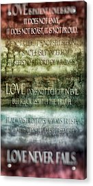 Acrylic Print featuring the digital art Love Does Not Delight In Evil by Angelina Vick